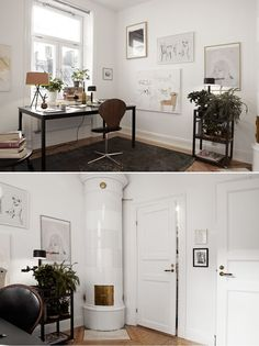 Pale colours paintings and drawings in clean interior