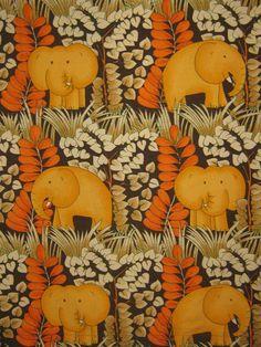 VINTAGE RETRO 70s COTTON FUNKY ELEPHANT DESIGN
