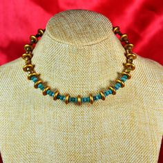 Go for the bold this season with a bright bronze and dark turquoise memory wire choker composed entirely of Czech glass beads on gold-plated memory wire. Holiday Jewelry, Fall Jewelry, Diy Jewelry, Jewelry Gifts, Wire Necklace, Unusual Jewelry, Handmade Christmas Gifts, Handmade Shop, Czech Glass Beads