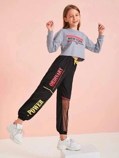 To find out about the Girls Slogan Graphic Mesh Insert Wind Pants at SHEIN, part of our latest Girls Pants & Leggings ready to shop online today! Preteen Girls Fashion, Teenage Girl Outfits, Girls Fashion Clothes, Dresses Kids Girl, Cute Girl Outfits, Kids Outfits Girls, Teen Fashion Outfits, Cute Casual Outfits, Kids Fashion