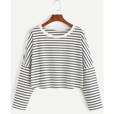 Contrast Striped Drop Shoulder Crop T-shirt (370 DOP) ❤ liked on Polyvore featuring tops, t-shirts, shein, black and white, long sleeve t shirts, striped t shirt, striped long sleeve t shirt, black and white t shirt and long sleeve tops