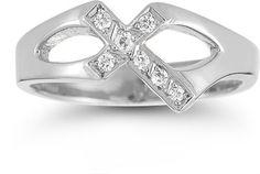 ApplesofGold.com - Christian Cross Sterling Silver White Topaz Ring, $99
