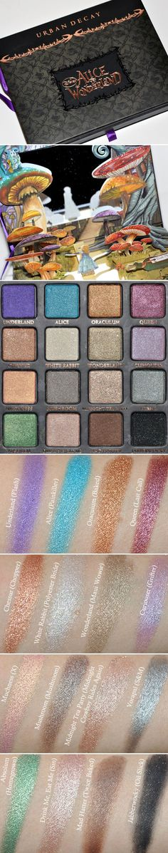 DUPES / SWATCHES :: Urban Decay Alice in Wonderland Palette :: Every shade has a dupe color from UD except Muchness... | #temptalia