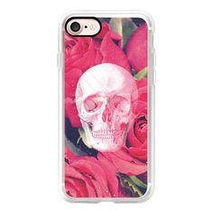Cool Scary Girly Goth Grunge Red Pink Roses Rose Anatomy Skull Drawing... ($40) ❤ liked on Polyvore featuring accessories, tech accessories, iphone case, apple iphone cases, red iphone case, iphone cases, slim iphone case and pink iphone case