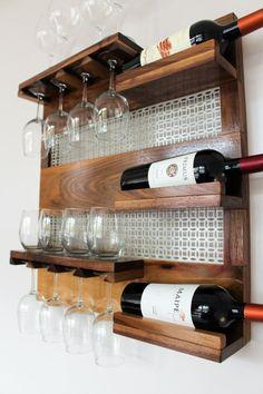 Real Walnut Wood Wall Mounted Wine Rack with by TheKnottyShelf Wine Rack Wall, Wood Wine Racks, Wine Glass Rack, Wine Shelves, Bar Shelves, Walnut Stain, Walnut Wood, Bar Pallet, Wine Bottle Holders