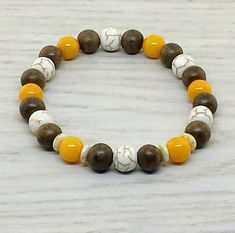 ~ Bracelets by Karen ~ Magnesite, Greywood and Yellow Jade with Glass Spacers