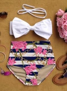Chained Ecstacy High Waist Bikini, Swimsuit, Chained Ecstacy High Waist Bikini, retro high waist bikini~ dont tempt me. This is so darn cute and would most likely look good on me cause I love high waisted things on me Like, Comment, Repin !! #style#swimsuit#womensfashion