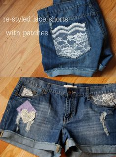 restyled lace denim shorts