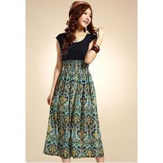 $6.69 Ethnic Style Pattern Print Elastic Waist and Pleated Dress For Women