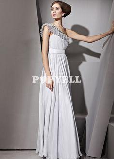 #robe #soirée Robe de cérémonie argente en Soie et Satin avec une épaule