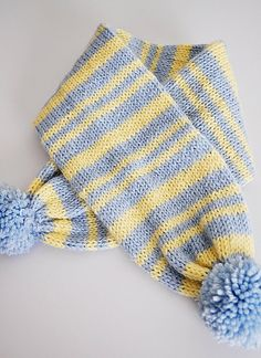 Knitted Striped Hat, Scarf & Mitten Set Baby Blue Yellow Pom Pom