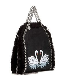 Falabella Mini black, white and blue embroidered fringed tote