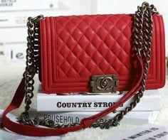 CN0097 Chanel Boy Flap Shoulder Bag in Red Original Nubuck Cannage Pattern A67086 Gold