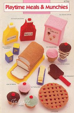 Playtime Meals & Munchies ~ Play Food, Annie's plastic canvas patterns OOP new