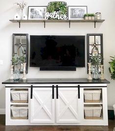 Farmhouse TV Stand Decor Furniture In 2019 Farmhouse . Remodelaholic Turn An Entertainment Center Into A TV . Home and Family Living Room Tv, Apartment Living, Home And Living, Small Living, Modern Living, Tv Stand Ideas For Living Room, Cozy Living, Living Room Decor Around Tv, Dining Room
