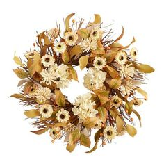 Meet a handcrafted wreath that will lift your spirits. Set atop a twig wreath, our faux white sunflowers and foliage really pop—providing subtle radiance as a centerpiece, hanging above your mantel or on your covered front door. Twig Wreath, Floral Wreath, Seasonal Decor, Holiday Decor, Sunflower Wreaths, Fall Wreaths, Accent Decor, Centerpieces, Thanksgiving