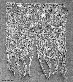 Fragment Date: 17th century Culture: Italian Dimensions: L. 10 x W. 8 1/2 inches 25.4 x 21.6 cm Classification: Textiles-Laces-Macrame Accession Number: 09.50.3169
