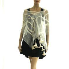 Nuno felt scarf Long silk and wool White handmade by MajorLaura