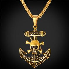 Punk Pirate Anchor With Skull Necklace