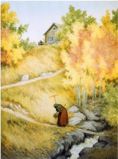 thewoodbetween:  Theodor Kittelsen   favorite season Most Popular Artists, Nature Paintings, Mythical Creatures, Black Art, Artist At Work, Art World, Impressionist, Norway, Illustrators
