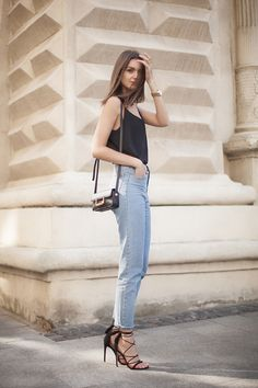 black cami, high-waist jeans, lace-up heels // casual glam