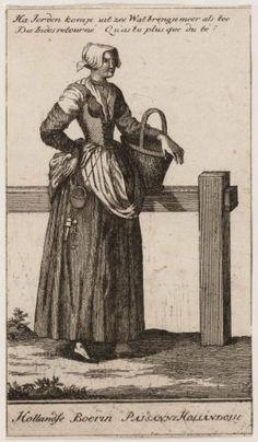"""Hollandse boerin in gesprek met haar vrijer. Opschrift: """"Ha Jorden kom je uit zee Wat breng je meer als tee"""". Ets. 1675-1725 Collectie Stadsarchief Amsterdam"""