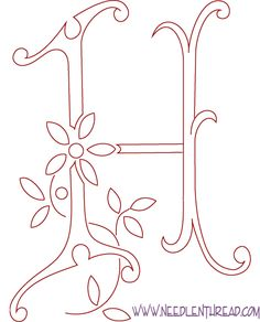 Monogram for Hand Embroidery: The Letter H - *from La Broderie Blanche Hand Embroidery Letters, Embroidery Monogram Fonts, Hand Embroidery Stitches, Hand Embroidery Designs, Ribbon Embroidery, Cross Stitch Embroidery, Embroidery Patterns, Machine Embroidery, Hand Lettering