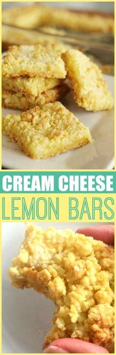 Cream Cheese Lemon Bars via @favfamilyrecipz