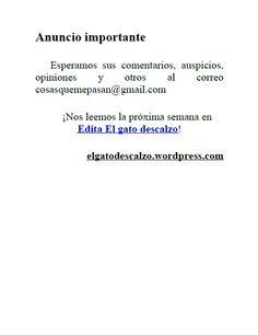 Edita El gato descalzo 1: Mudanza obligada de Germán Atoche Intili. Anuncio importante. Descárgalo gratis en: http://elgatodescalzo.wordpress.com/2012/05/04/e-book1/