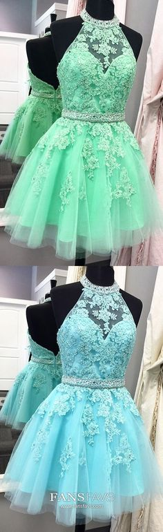 Green Homecoming Dresses Short, A Line Homecoming Dresses Halter, Open Back Homecoming Dresses Lace, Beading Homecoming Dresses Sequin #FansFavs #homecomingdresses #greendress #halterdress