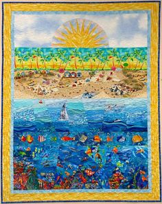 Beach Quilt Art  CUSTOM MADE by sampaguitaquilts on Etsy, $550.00
