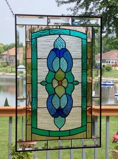 Victorian stained glass panel window large stained by SGHovel