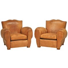 Pair Vintage French Original Leather Moustache Back Club Chairs