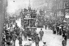 The Tram is Central London England all Decorated for King Edward VII and Queen Alexandra Coronation on 9 August 1902