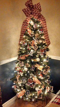 My sons baseball christmas tree! Crackerjacks, big chew gum and baseball cards with burlap!