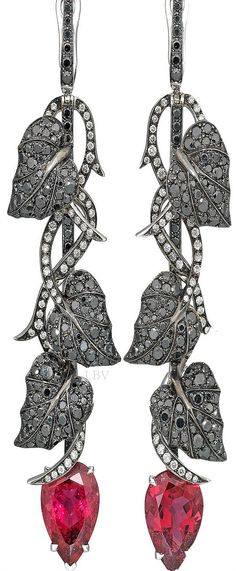 Stephen Webster ♥✤ A rubellite tourmaline long earrings Dark Jewel collection for Dom Perignon | LBV