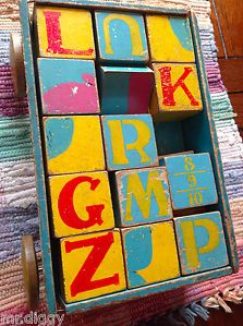 1930's Child's Pull Wagon with Wooden Alphabet Blocks | eBay