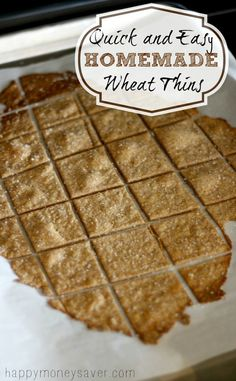 These Homemade Wheat Thin Crackers take about 10 minutes to make, taste better than store bought and are made with real ingredients that you can actually pronounce. Wheat Thins are my favorite kind of cracker. I can go through half a box in one sitting, e Real Food Recipes, Snack Recipes, Cooking Recipes, Yummy Food, Make Your Own Crackers, Biscuits, Wheat Thins, Homemade Crackers, So Little Time
