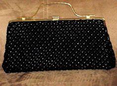 Black Clutch Handbag Vintage 1950s Vinyl Clutch by outoftheattic2u, $25.00