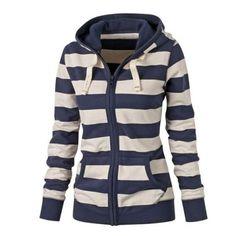 Women Hoodies Sweatshirt Plain Zipper Striped Hoodie Long Sleeve Hooded Sweatshirt Jumper Top LJ7847E
