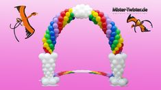 195  Balloon Rainbow Arch, Decoration, Birthday, Ballon Regenbogen, Ballon Bogen, Dekoration, Geburtstag