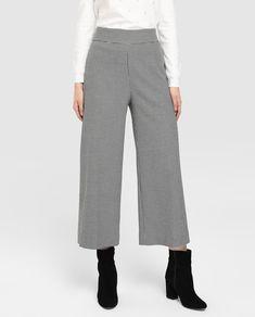 Pantalón ancho de mujer Tintoretto de pata de gallo Ootd Winter, Moda Online, Outfits, Pants, Shorts, Fashion, Vestidos, Tela, Baggy Trousers