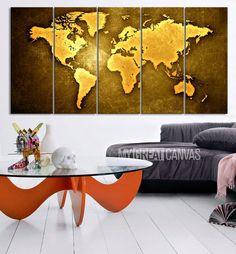 WORLD MAP on Yellow Iron Background Canvas Print - World Map 5 Piece Canvas Art Print - Ready to Hang - Decorative World Map Art Canvas