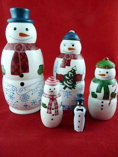 Avon Nesting Snowman Family Dolls Christmas Decor New In Box #Avon