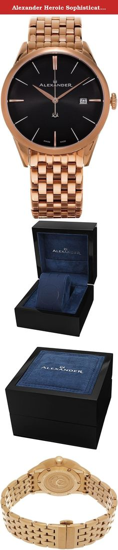 Alexander Heroic Sophisticate Bracelet Wrist Watch For Men - Black Dial Date Analog Swiss Watch - Stainless Steel Plated Rose Gold Watch - Mens Designer Watch A911B-06. Alexander Story: Alexander was the pupil of the storied Greek philosopher Aristotle. He was intelligent, quick to learn and extremely well read. His personality defined charisma, and his obsession with success allowed him to conquer most of the known world at the time. He left a significant legacy beyond his conquests as…