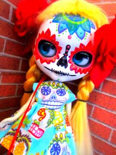 Blue Sugar Skull Day of the Dead Dress for Blythe or Dal. $12.00, via Etsy.