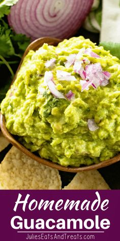 This delicious and easy homemade guacamole recipe is the best guacamole recipe around! So easy to make with ripe avocados, cilantro, onion, garlic, sea salt and lime juice! Grab your tortilla chips and dig into this! via @julieseats
