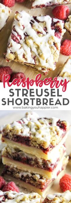 Raspberry Streusel Shortbread Bars, an easy to make raspberry dessert bar layered with shortbread crust, raspberry filling, and streusel on top! Easy No Bake Desserts, Best Dessert Recipes, Fun Desserts, Delicious Desserts, Easy Recipes, Easter Desserts, Healthy Recipes, Desert Recipes, Drink Recipes