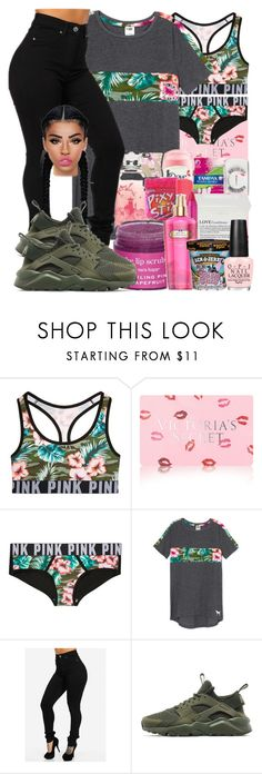 """""""#tropicalcamo"""" by ballislife ❤ liked on Polyvore featuring Victoria's Secret, NIKE and Lime Crime"""