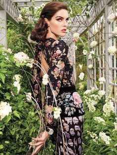 Top model Hilary Rhoda takes on avant garde styles for the September 2017 issue of Vogue Arabia. Photographed by Mark Seliger, the American beauty poses in a lush garden setting for the editorial. Hilary dazzles in gorgeous gowns and embroidered dresses styled by Daniel Edley. For beauty, the brunette stuns with a slicked back coif...[Read More] #beautydresses